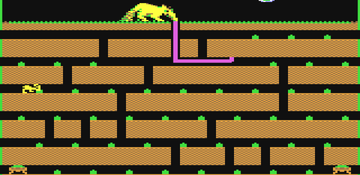 Screenshot of Arty The Aardvark -- The game used in the pionering Gamification study